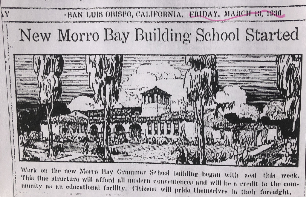 The Sun Bulletin shows a drawing of the school to be built in Morro Bay in 1936.